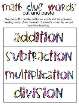Math Clue Words Cut and Paste (or math work station sort)