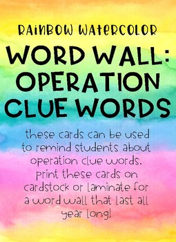 Math Word Wall: Operation Clue Words RAINBOW WATERCOLOR DESIGN