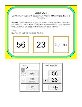 Math Clue Words for Addition and Subtraction