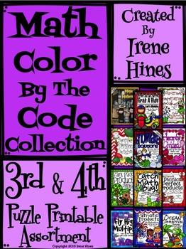 Math Color By The Code Collection ~ Third and Fourth Grade Puzzle Assortment