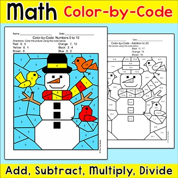 Winter Math Snowman Color by Number: Add, Subtract, Multiply, Divide