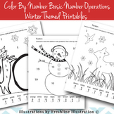 Math Color by Code, Color by Number, Basic Operations, Winter Printable, Math