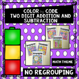 Math Theme- Color by Code Two Digit Addition and Subtracti