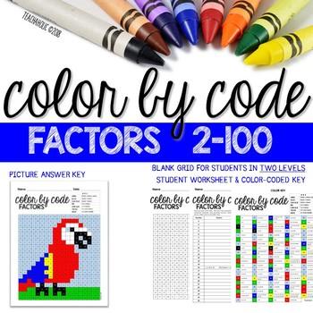 Math: Color by Code - Factors 2-100