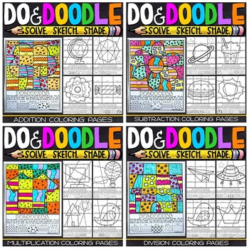 Math Color by Number Bundle   Do and Doodle