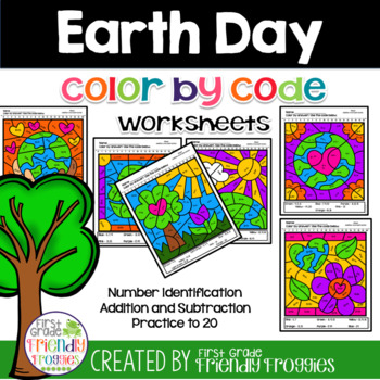 Math Coloring Sheets Addition and Subtraction Earth Day Themed