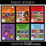 Math Coloring Sheets Bundle- Color by Code Holiday Bundle