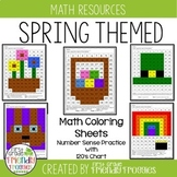 Math Coloring Sheets- Spring theme -Math Strategies Practi