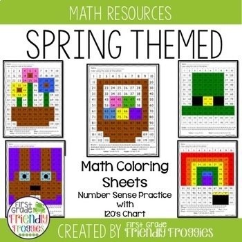 Math Coloring Sheets- Spring theme -Math Strategies Practi