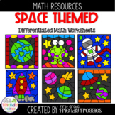 Math Coloring Sheets - Space Themed - Subitizing, Addition and Subtraction
