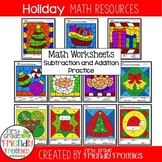 Math Color by Code  Sheets for Christmas