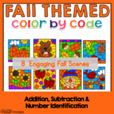 Math Coloring Sheets for Fall - Addition and Subtraction to 20