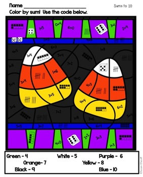 Math Coloring Sheets for Halloween - Addition Practice