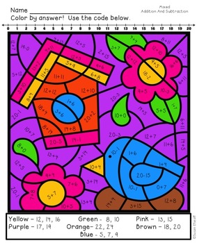 Coloring Sheets for Spring - Addition and Subtraction to 20