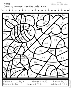 basic addition coloring pages | Math Coloring Sheets for Spring - Addition and Subtraction ...