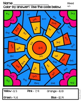 math coloring sheets for summer addition and subtraction to 20