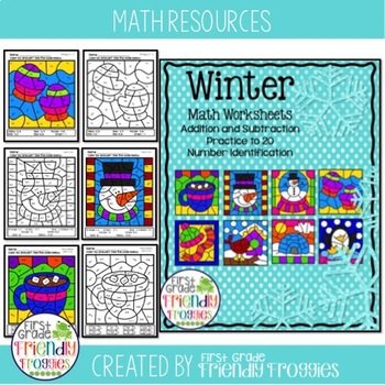 Math Coloring Sheets - Color by Code for Winter by First Grade ...