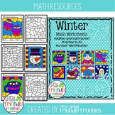 Math Coloring Sheets - Color by Code for Winter