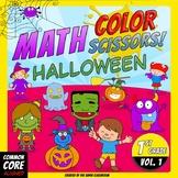 Math, Colors, Scissors - 001 - Halloween - 1st grade - Common Core Aligned