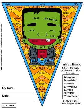 Math, Colors, Scissors - 001 - Halloween - 2nd grade - Common Core Aligned