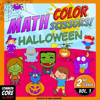 Math, Colors, Scissors - 001 - Halloween - 2nd grade - Common Core Aligned