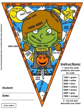 Math, Colors, Scissors - 001 - Halloween - 4th grade - Common Core Aligned