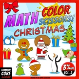 Math, Colors, Scissors - 002 - Christmas - 3rd grade - Common Core Aligned