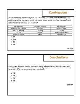 Combinations Math Review Game: Survivor Theme