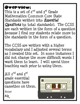 Math Common Core 2nd and 3rd grade Cassette Tape Theme