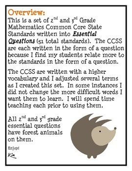 Math Common Core 2nd and 3rd grade Forest Animals Theme