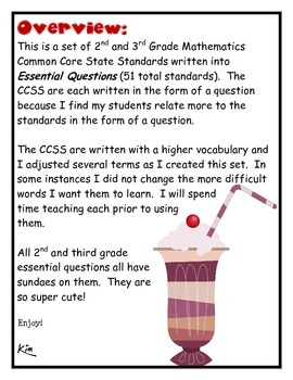 Math Common Core 2nd and 3rd grade Sundae Theme