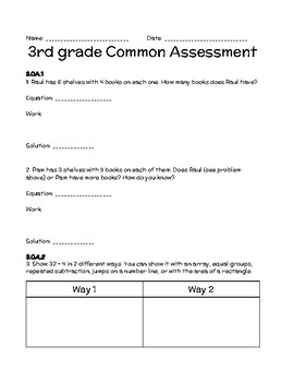 Math Common Core 3rd Grade Assessment