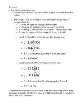 Math Common Core: 4th Grade Information Pages