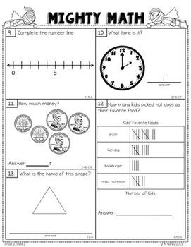 SECOND GRADE Math Formative Assessments - First Quarter