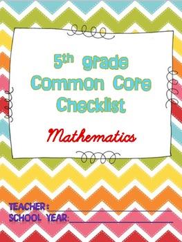 Math Common Core Checklist - 5th Grade