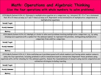 Math Common Core Checklist: Grade 4