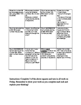 Math Common Core Choice Board #4