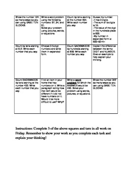 Math Common Core Choice Board #5