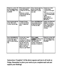 Math Common Core Choice Board #5