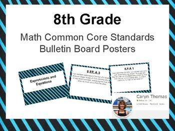 Math Common Core Content Standards Bulletin Board Posters 8th Grade