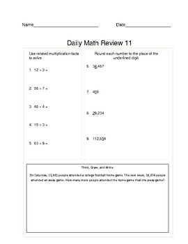 Common Core: Daily Math Review - 60 days/12 weeks of Math Practice (3rd - 5th)