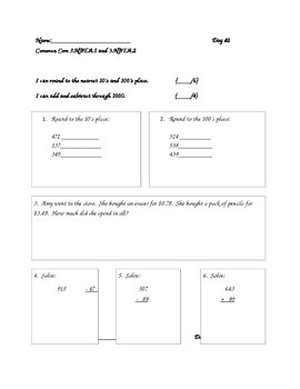 Math Common Core Daily Review Grade 3 (Days 2-6)