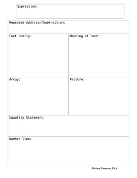 Math Common Core GRAPHIC ORGANIZERS Journal Notebook (1 for each domain)