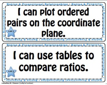"Math Common Core Grade 6 - ""I Can"" Statements"