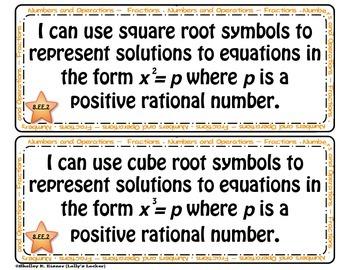 "Math Common Core Grade 8 - ""I Can"" Statements"