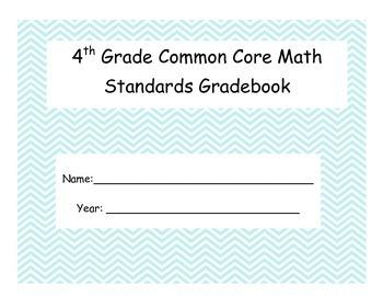 Math Common Core Grade Book for 4th Grade