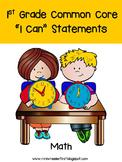First Grade I Can Statements: Math