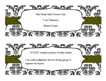 """Math Common Core """"I Can"""" Statments"""