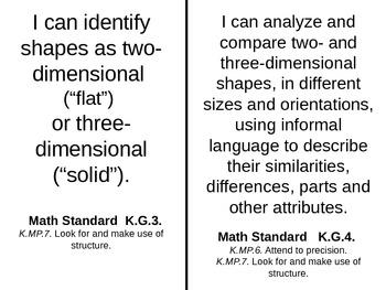 Math Common Core Kindergarten I Can Statements