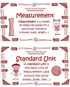 Math Common Core Measurement and Data Grades 3-5 Vocabulary Cards